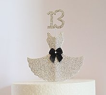 13th Birthday Cake Decoration. Silver Dress with