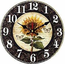 14 Inch Sunflower Kitchen Wall Clock Rustic