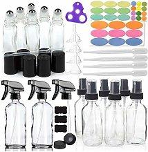 14 Pack Empty Brown Glass Spray Bottle W/ 6-10ml