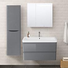1400mm Left Hand Gloss Grey Tall Cupboard Storage