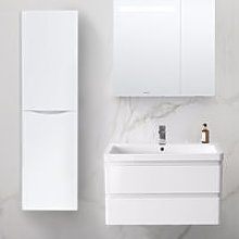 1400mm Left Hand Gloss White Tall Cupboard Storage