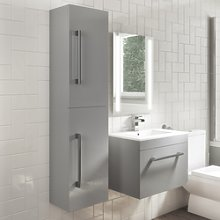 1400mm Wall Hung Tall Boy Bathroom Cabinet - Grey