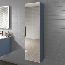 1400mm Wall Hung Tall Boy Mirror Cabinet Matt Blue