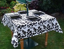 140x140cm SQUARE PVC/VINYL TABLECLOTH - WHITE WITH
