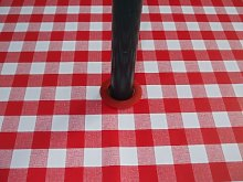 140x200CM OVAL PVC/VINYL TABLECLOTH - RED GINGHAM