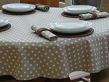 140X210cm OVAL VINTAGE TAUPE WITH CREAM POLKA DOT