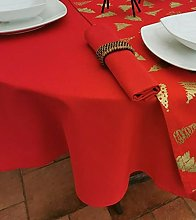 140x250CM RED CHRISTMAS OVAL TABLECLOTH (8 SEATER)