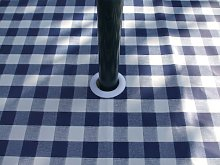 140x300CM OVAL PVC/VINYL TABLECLOTH - BLUE GINGHAM