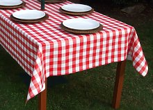 140x300CM RECTANGLE PVC/VINYL TABLECLOTH - RED