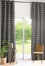 140x300cm single eyelet curtain with black graphic