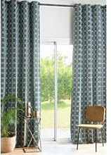 140x300cm single eyelet curtain with green graphic