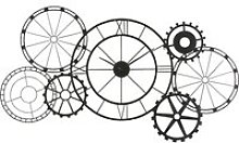 141x72cm matte black metal cog clock