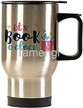 14oz Ceramic Travel Mug ,Hello Book O Clock Funny