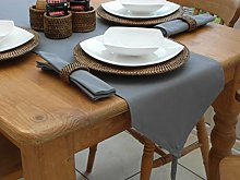 "14x118"" GREY COTTON TABLE RUNNER WITH TASSEL"