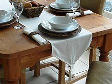 "14x98"" CREAM COTTON TABLE RUNNER WITH TASSEL"
