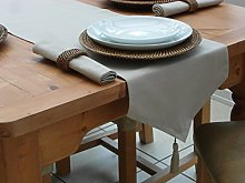"14x98"" TAUPE / BEIGE COTTON TABLE RUNNER WITH"