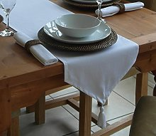 "14x98"" WHITE COTTON TABLE RUNNER WITH TASSEL"