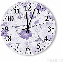 15 Inch Round Wooden Wall Clock, Lilac Pedicel