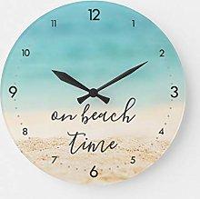 15 Inch Wooden Wall Clock, Aqua Ocean Sandy Beach