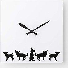 15 Inch Wooden Wall Clock, Chihuahua Dog Pet