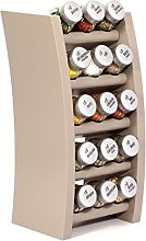 15 Jar Wooden Kitchen Spice Rack filled with Herbs