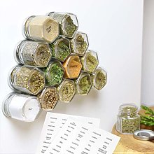15-Pack Magnetic Spice Jars Hexagon Glass Spice