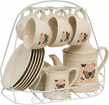 15 pcs decorated porcelain breakfast set FARFALLE