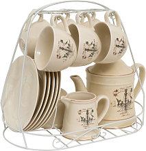 15 pcs decorated porcelain breakfast set LAMPADARIO