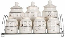 15 Piece Spice Glass Jar Set with Marble Design