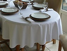 150x210cm PLAIN WHITE OVAL TABLECLOTH (6 SEATER)
