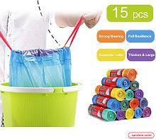 15pcs(1 Roll) Heavy Duty Garbage Bag PE Trash Bags