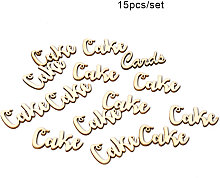 15pcs/set Vintage Rustic Style CAKE Wooden Table Stand Sign Ornaments DIY Wedding Party Decoration Board,model: style 5