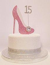 15th Birthday Cake Decoration Pink & White Shoe