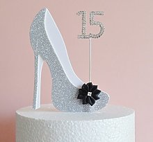 15th Birthday Cake Decoration Silver & White Shoe