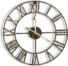 16 Inch Metal Wall Clock with 3D Roman Numerals,