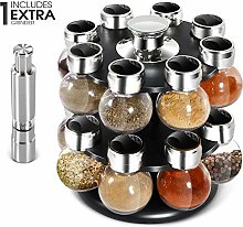 16-Jar Kitchen Spice Rack with Salt & Pepper