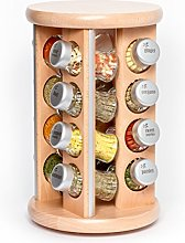 16 Jar Revolving Wooden Spice Rack Filled with