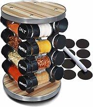 16 Jar Rotating Spice Rack Organiser, Including 32