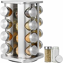 16-Jar Stainless Steel Spice Rack, Spinning
