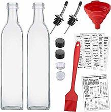 16 Oz Oil Vinegar Cruet, Square Tall Glass Bottle