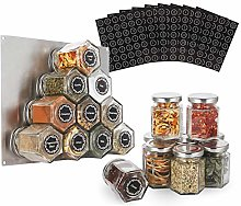 16-Pack Glass Hexagon Magnetic Spice Jar -