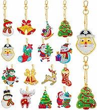 16 Pieces Christmas DIY Diamond Key Chain Kits