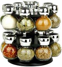 16 SPICE GLASS JAR RACK BLACK HOMEWARE MODERN