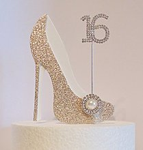 16th Birthday Cake Decoration Gold and White Shoe