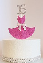 16th Birthday Cake Decoration. Pink Dress with
