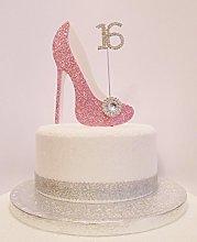 16th Birthday Cake Decoration Pink & White Shoe
