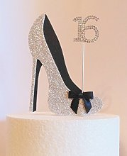 16th Birthday Cake Decoration Silver and Black