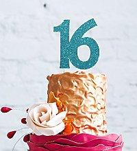 16th Birthday Cake Topper, Large - Glittery Light