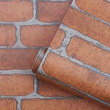 17.7 x 118 inches Orange Red Brick Wallpaper Faux