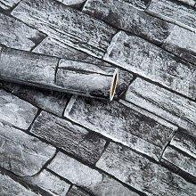 17.71 in X236 in Gray Brick Wallpaper Peel and